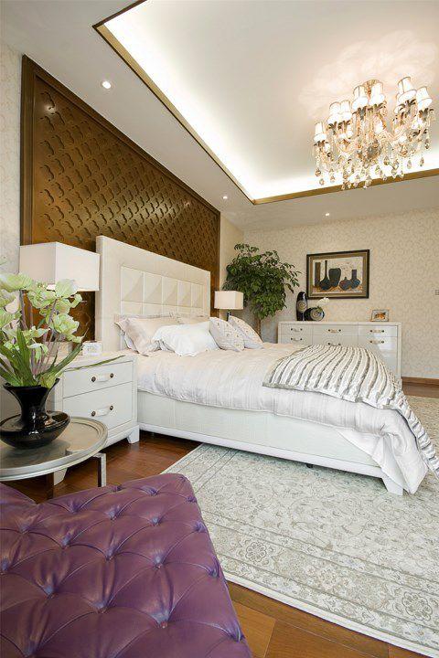 简欧风格卧室白色地毯设计