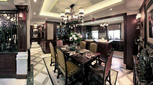 美式风格开放式厨房吧台装修效果图