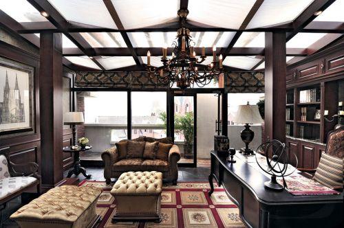 美式古典阳台玻璃隔断墙效果图