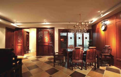 新中式风格餐厅仿古砖地面效果图