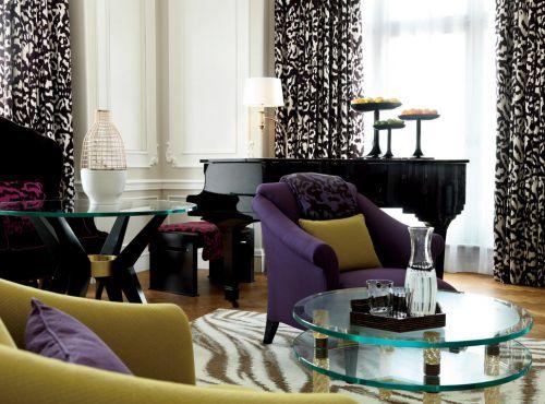 欧式客厅紫色的沙发装修