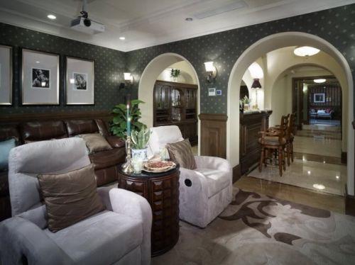 美式风格客厅弧形门设计
