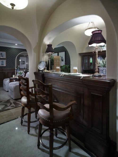 美式风家庭装修吧台效果图
