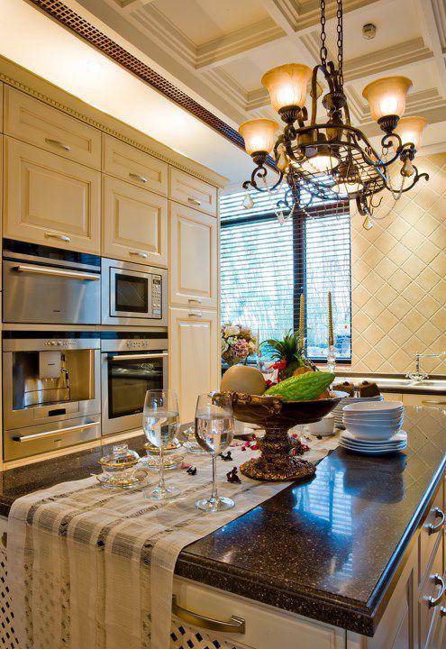 美式开放式厨房吧台装修效果图