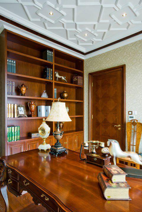 复古欧式风书房书架设计图