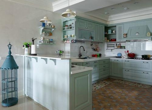 清新蓝色简欧风格厨房装修效果图