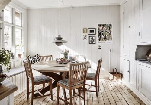 白色清新北欧风餐厅效果图
