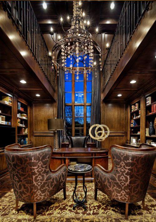 豪华美式古典风格书房装修效果图