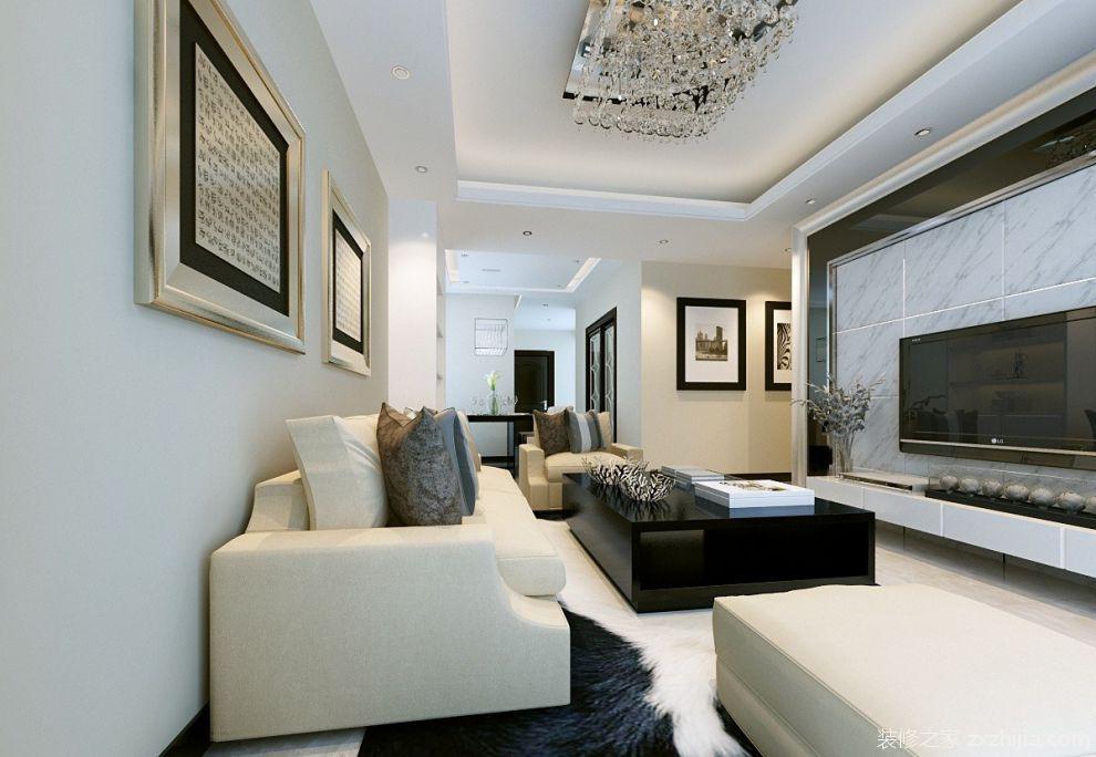 现代风格客厅大理石电视背景墙装修效果图