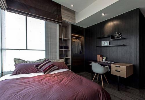 简约黑色卧室装修效果图