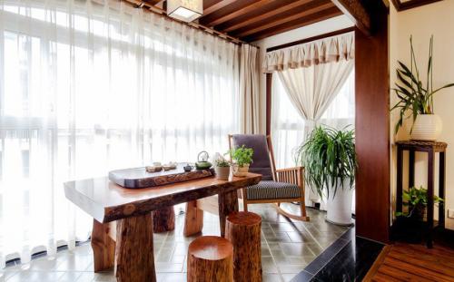 中式风格木质餐厅效果图