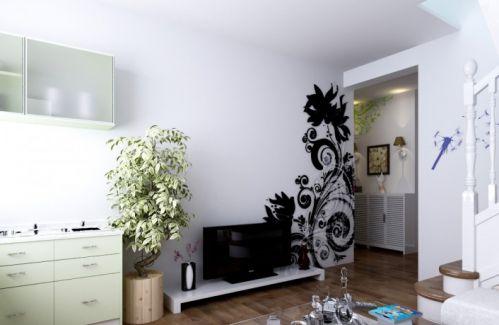 小复式客厅电视背景墙装修效果图