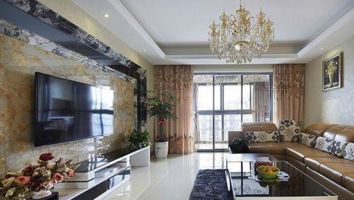 简约一居客厅瓷砖电视背景墙装修设计