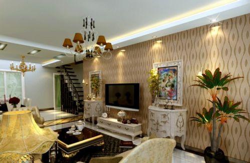 小复式客厅电视背景墙壁纸装修效果图