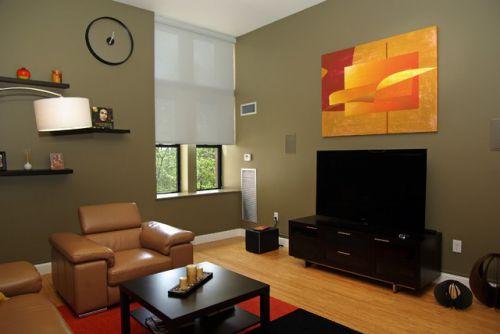 小户型创意客厅电视背景墙装修效果图