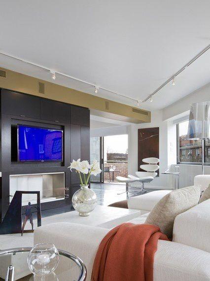 简约黑色客厅电视机背景墙装修效果图