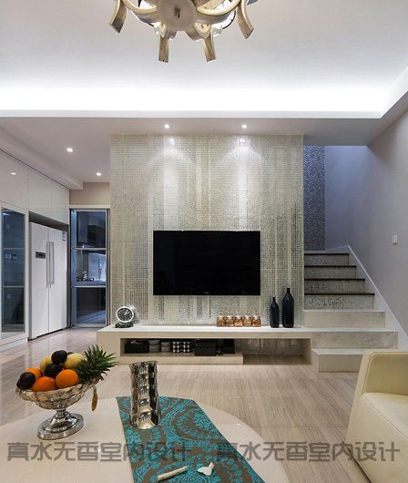 復式樓中樓客廳大理石背景墻裝修效果圖_裝修之家裝修