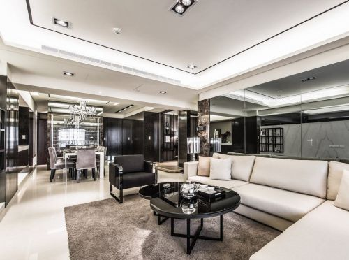 绽亮品奢华四室两厅现代简约客厅