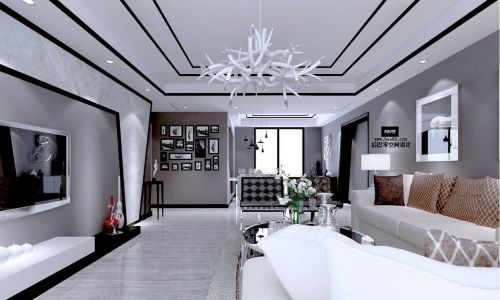 现代风格装修长客厅吊顶图片大全