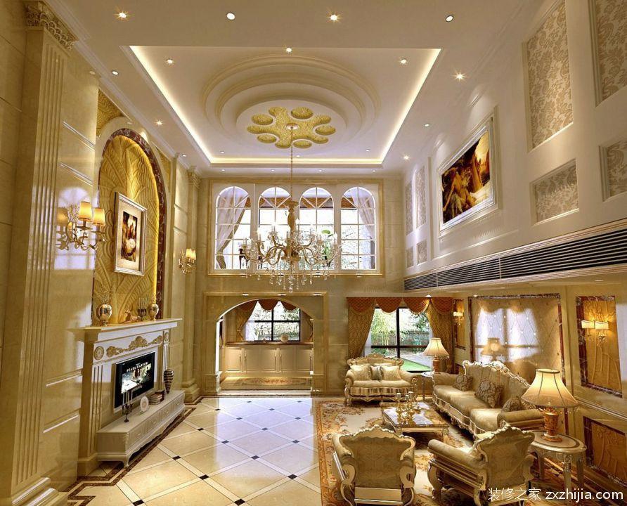 最新欧式别墅客厅吊顶装修效果图