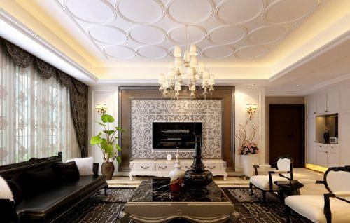 欧式电视背景墙欧式天花板石膏吊顶美图