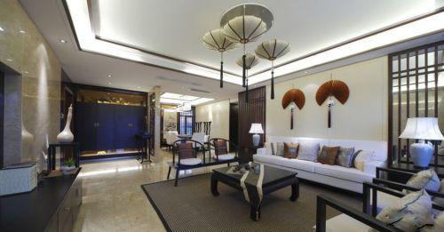 新中式风格复式楼装修客厅吊顶效果图_装修之家装修