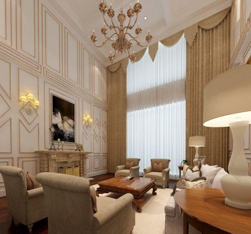 欧式别墅客厅窗帘装修效果图