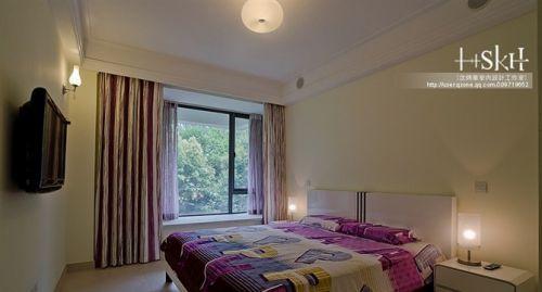 卧室带飘窗窗帘装修效果图