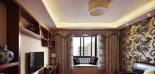 新中式卧室飘窗窗帘效果图