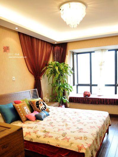 新中式卧室飘窗装修效果图