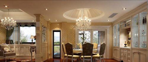 欧式别墅餐厅圆形吊顶装修效果图