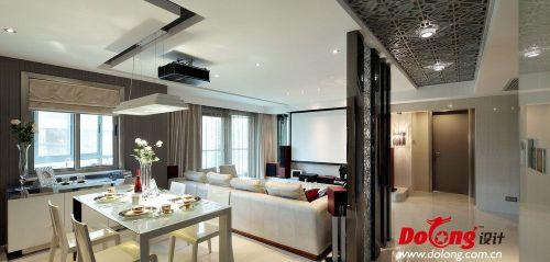 现代风格客餐厅镂空吊顶隔断设计