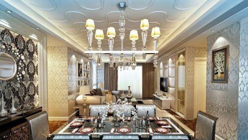 欧式豪华餐厅吊顶美图