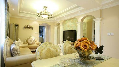 欧式风格70平米小户型客厅吊顶效果图