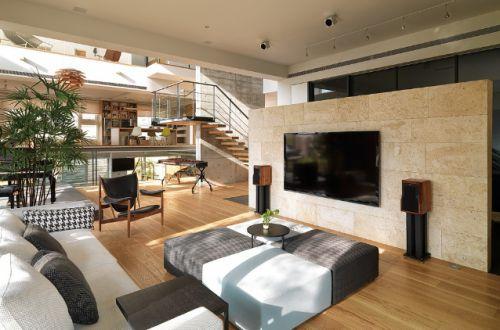 原木色小清新别墅设计复式日式客厅美图