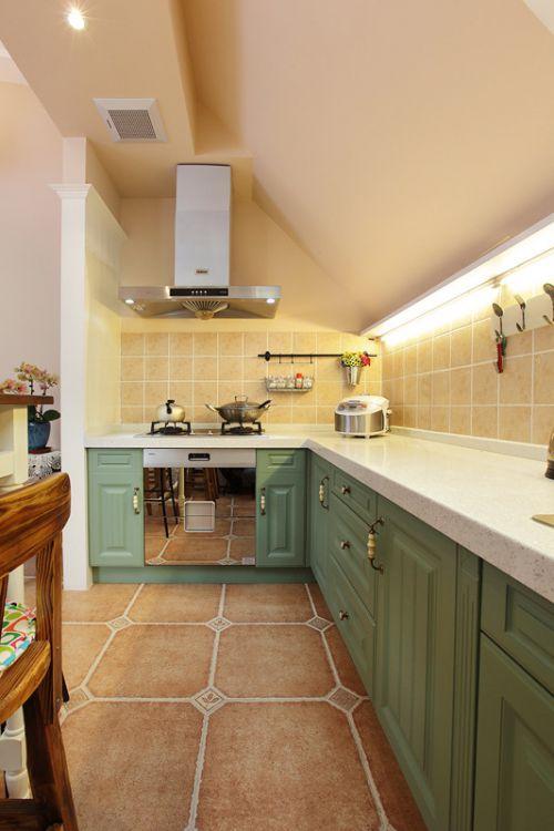小清新阁楼之家两室两厅美式乡村厨房美图