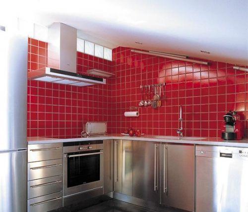现代厨房不锈钢橱柜效果图欣赏