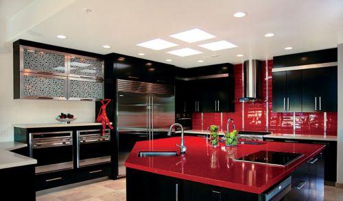 现代厨房不锈钢橱柜效果图