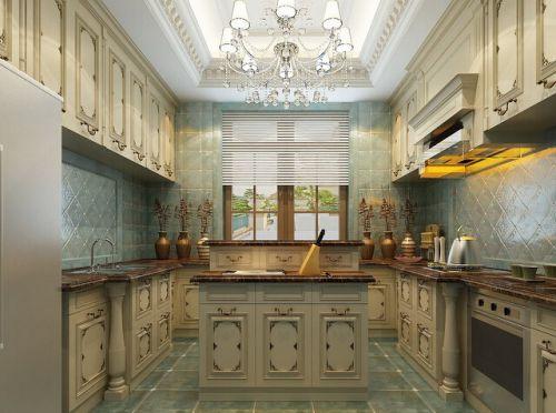 欧式豪华厨房橱柜样板效果图