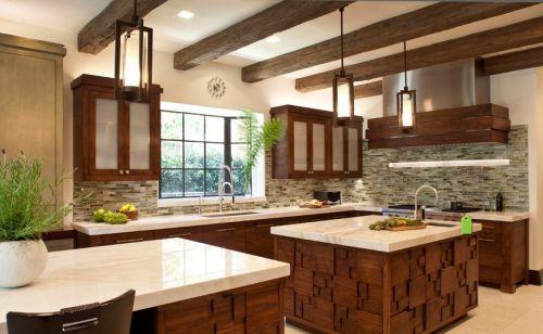 2015美式开放式厨房吊顶装修效果图