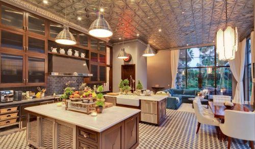 美式开放式厨房吊顶装修效果图欣赏