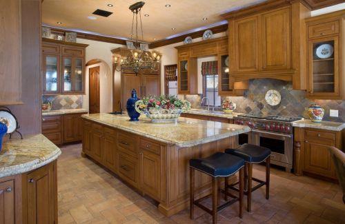 美式开放式厨房吊顶装修效果图