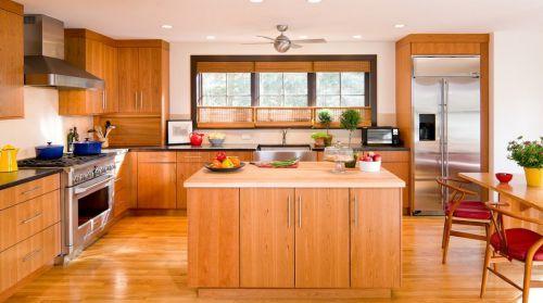 开放式厨房实木橱柜装饰效果图欣赏