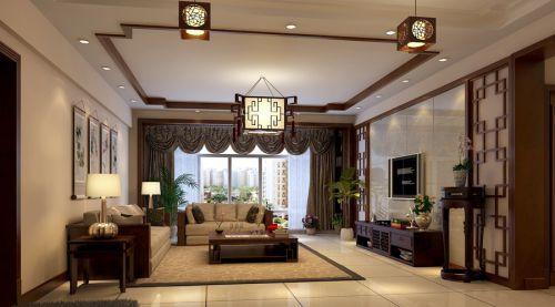 2016原木色古典中式客厅吊顶