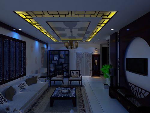 简洁中式风格客厅吊顶效果图赏析