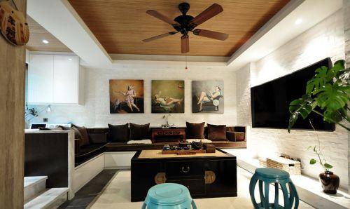 中式风格褐色客厅吊顶设计装潢