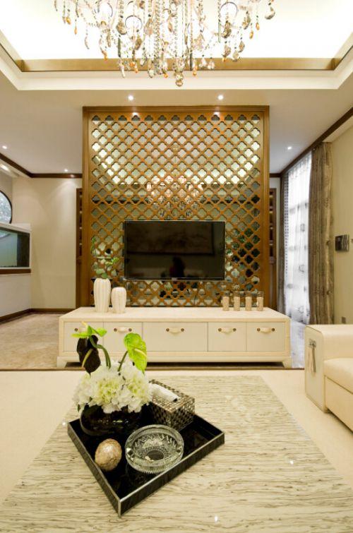 精致简欧风格米色客厅吊顶装修美图