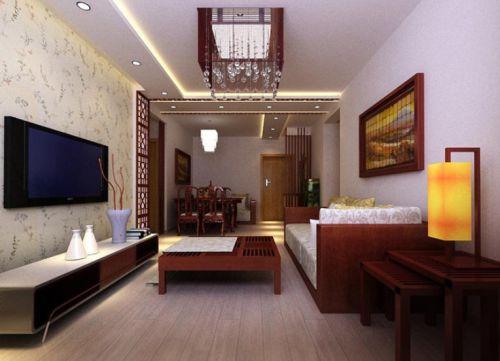 古朴中式客厅吊顶设计欣赏