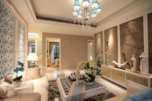 淡雅中式风格客厅吊顶装饰设计图片