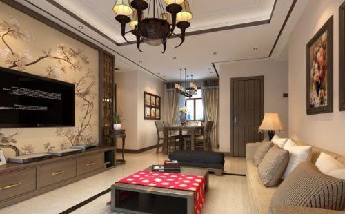 雅致时尚中式风格客厅吊顶装饰案例